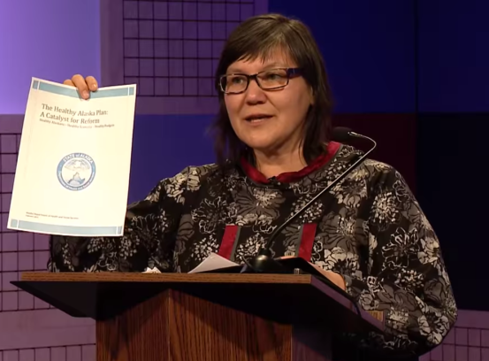 Alaska Commissioner Valerie Davidson, Department of Health and Social Services, speaks about Medicaid expansion and reform at the University of Alaska Southeast. (YouTube photo).