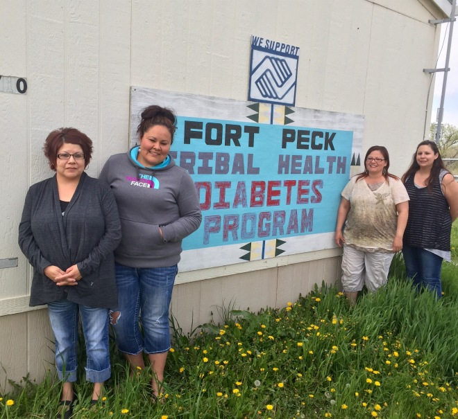 Fort Peck Tribal Health Department is a success story showing how a community can reduce diabetes rates. From left: Janene Padilla, Diabetes Coordinator Tessie LaMere.  Cheryl Bighorn-Savior (RN), and Laurel Cheek.