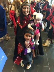 "Kwanlin Dun elder Ann Smith and her ""grandbabies"" at the Whitehorse celebration. (Photo by Jaynie Parrish)"