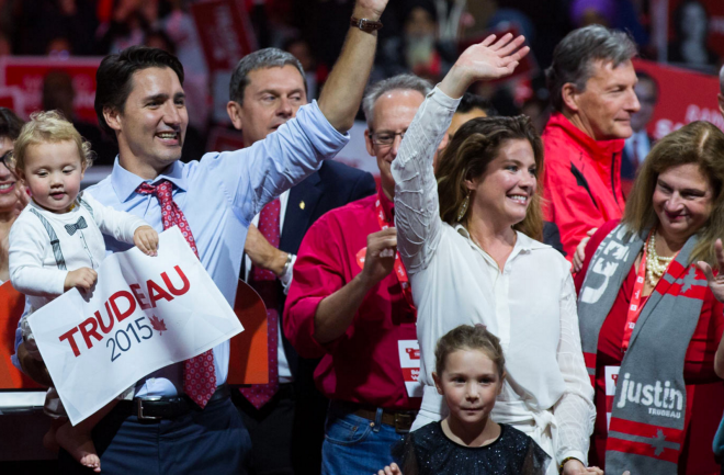 From the Liberal Party web site: Celebrating Prime Minister elect Justin Trudeau.